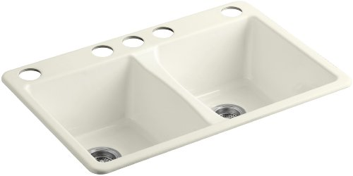 Five Hole Double Bowl - KOHLER K-5873-5U-96 Deerfield Double Bowl Undermount Kitchen Sink with Five Hole Drilling, Biscuit