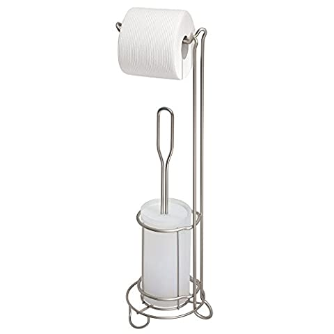 mDesign Toilet Paper Stand and Toilet Bowl Brush Combo for Bathroom - Satin/Frost