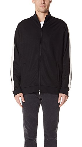 Vince Men's Athletic Track Jacket With White Stripe, Black, M by Vince