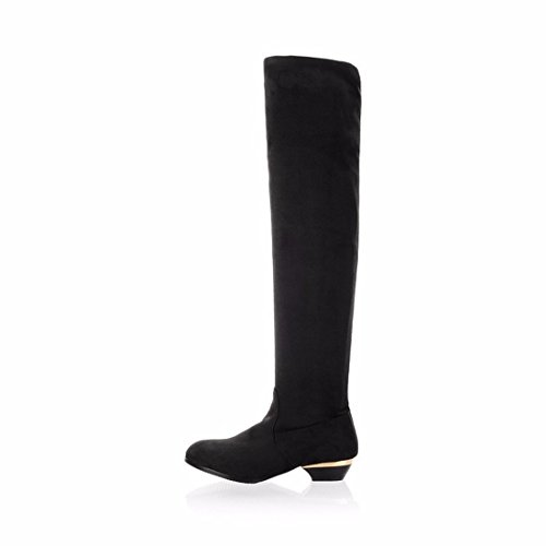 botas gran y con de botas de black rodilla y elasticidad Unidos de los Estados el gamuza botas gamuza tamaño la alta Europa nqgYPBwII