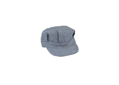 [Extra- Large Hickory Striped Blue and White Train Engineer Hat XL] (Heavyweights Halloween Costume)