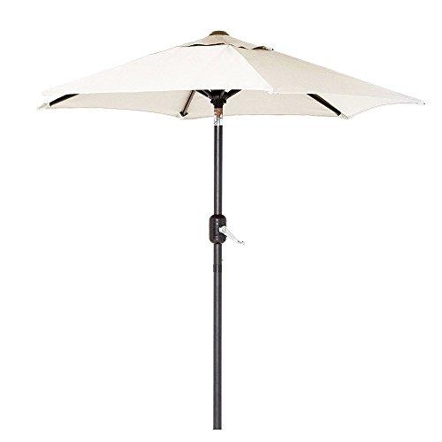 - 6 Ft Outdoor Patio Umbrella with Aluminum Pole, Easy Open/Close Crank and Push Button Tilt Adjustment - Beige Market Umbrellas