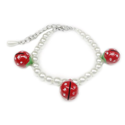 Lovely Strawberry Bell Pearl Necklace Pet Dog Cat Collar