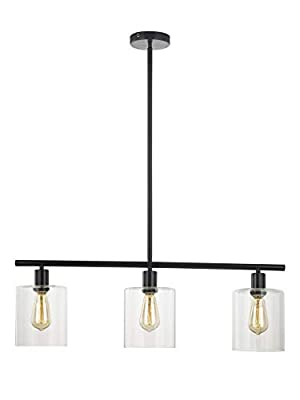 LeeZM Rustic Industrial Chandeliers Modern 3-Light Glass Shades Pendant Lighting Vintage Farmhouse Adjustable Wire Ceiling Light Hanging Lamp For Dining Rooms Bedrooms Living Room Kitchen Island Black