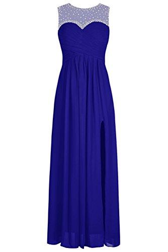 Bbonlinedress Vestido De Fiesta Largo Sin Mangas Espalda Transparente Azul Real
