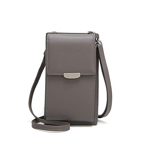 Medium Phone - Kingto Small Leather Crossbody Cell Phone Shoulder Bag for Women, Smartphone Wallet Purse with Removable Shoulder Strip for Shopping (gray two)