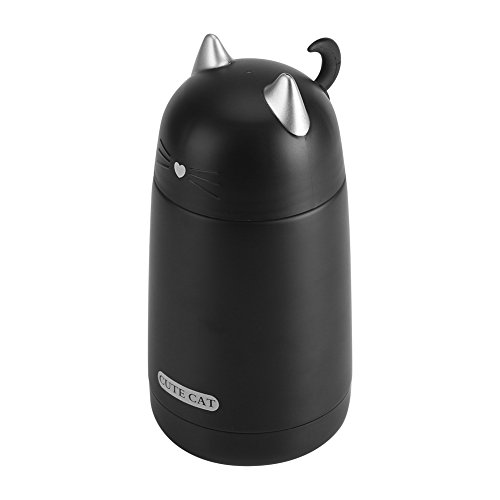 Kids Thermal Cup, Thermal Mug Hot Drinks Water Bottle Mini Stainless Steel Tumbler 330ML Cute Cat Adult Travel Coffee Cup With Hook(Black) (Travel Mug Japanese)