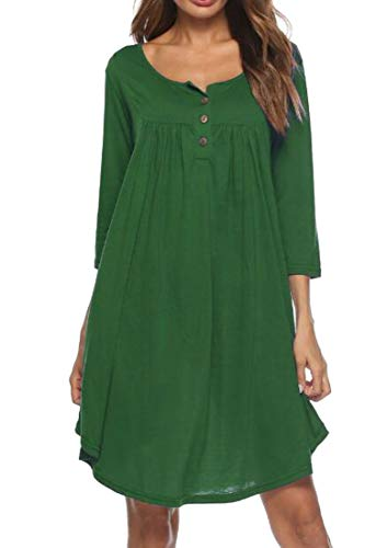 Dress Down Neck 4 Women's Domple Baggy Button 3 Button Green Sleeve Crew WH6Wanxv