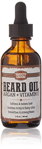 Smooth Groom Beard Oil with Natural Argan and Vitamin E, Smoothes, Strengthens, Soothes Itchy, Flake Skin, Softens and Tames Hair for All Beard Types 2oz / 60ml