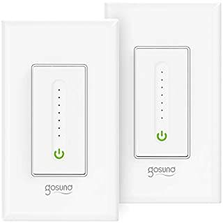 Gosund Smart Dimmer Switch Works with Alexa and Google Assistant, WiFi Smart Light Switch for Dimmable LED, Single-Pole, Need Neutral Wire, CUL and FCC Listed (2 Pack)