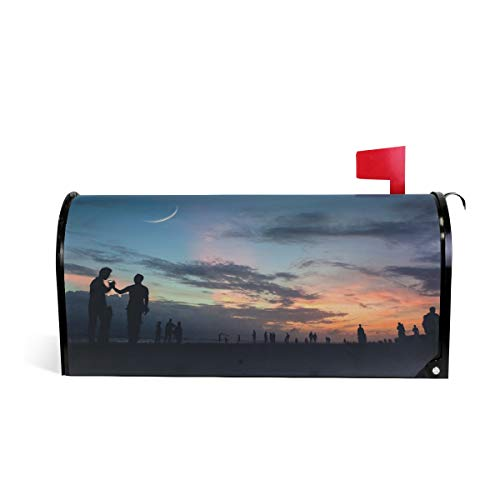 Mr.Lucien Crescent Moon in The Dusk Sky Red Cloud Seaside Beach Magnetic Mailbox Cover Standard Size-18