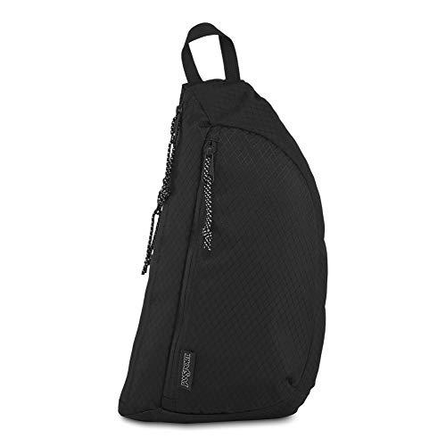 JanSport City Sling Crossbody Bag - Versatile Backpack | Ideal Travel & Day Pack | Black Woven Knit (Back Sling)