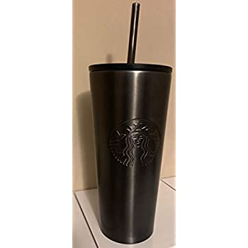 Starbucks Stainless Steel Venti 16 Ounce Double Walled Cold Cup Tumbler Plastic Lid 2019 Edition Matte Black