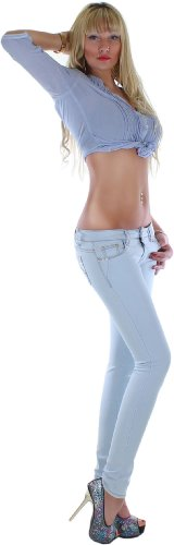 Tubo Jeans Mujer Color Azul Claro con detalles brillantes y remaches redondeadas 34x s–�?2x l Azul