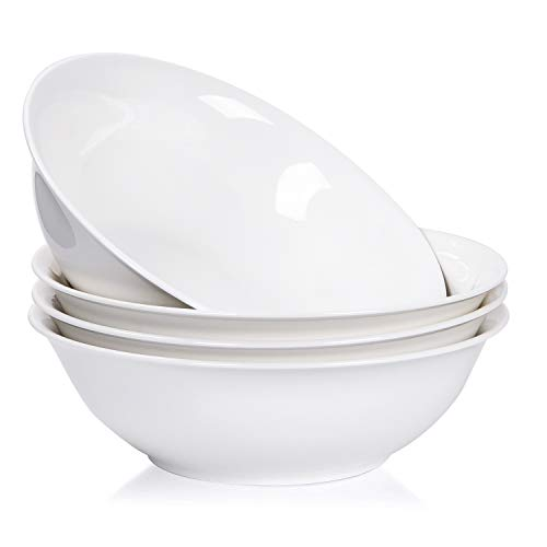(Porcelain Soup Bowls, 45 Ounce Ceramic Rim Bowl Set, Serving for Pasta, Ice Cream and Salad, Set of 4, Pure White)