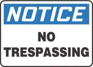 10''Hx14''W Black/Blue/White Aluminum NOTICE NO TRESPASSING Admittance & Exit Sign