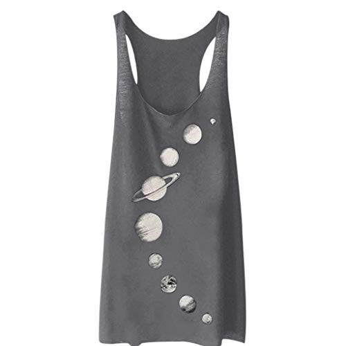 Aunimeifly Women's Sleeveless Top Loose Long Tunic Moon Pattern Tank Sexy Casual Tunic Summer Blouse Gray