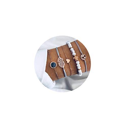 (AIGE-Store Bohemian Layered Beaded Bracelets for Women Girls Adjustable Charm Stretch Stack Strand Bangle Bracelets Beach Boho Jewelry)