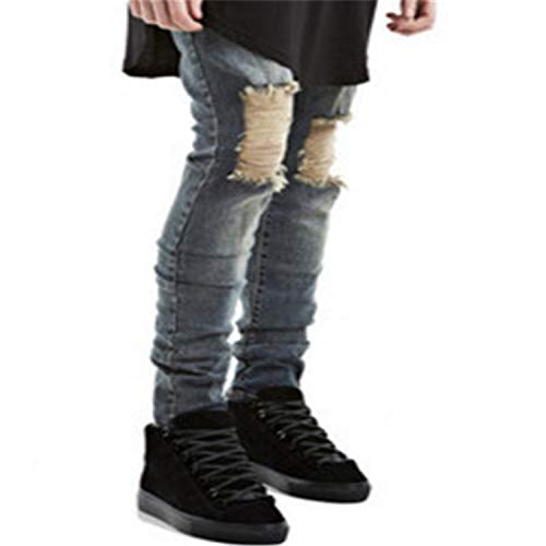 Suppliesed Ripped Biker Slim Jeans Motorcycle Style Elastic Men Jeans Slim Fit Washed Pants