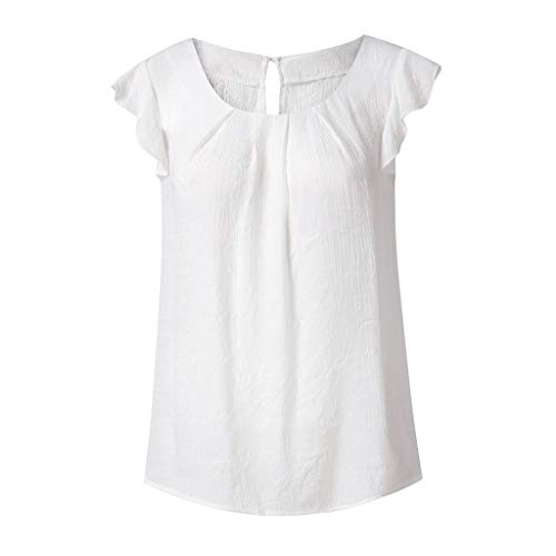 KYLEON Women 's Tops T Shirts Ruffle Sleeveless Solid Color Chiffon Summer Loose Casual Blouses Teens Girls Tank Tunic White by KYLEON (Image #2)