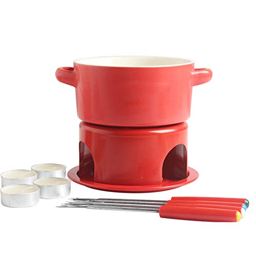 Ceramic Cheese Fondue Set, Chocolate Melting Furnace With 4 Forks, Household Alcohol Fire Boiler, Red