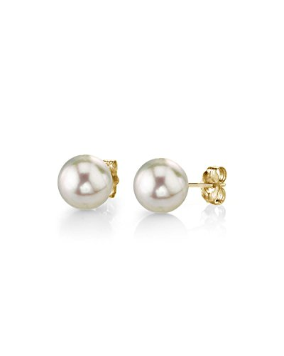 THE PEARL SOURCE 14K Gold 4.5-5.0mm Baby Sized AAA Quality Round Genuine White Cultured Akoya Pearl Ball Stud Earring Set 14k Baby Jewelry Set