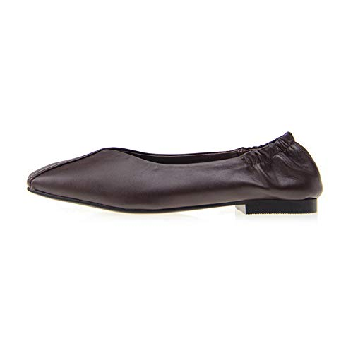 Womens Structured Frayed BalaMasa Seams Pleated Brown Shoes APL11113 Leather Pumps 7paadqO