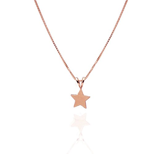 14k 50th Anniversary Charm - 14k Rose Gold Tiny Star Pendant Necklace Pendant Friendship charm Gift Moon and Star Jewelry