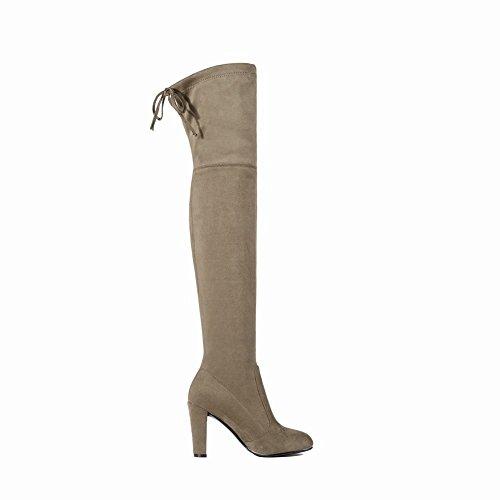 Mee Shoes Damen high heels runde langschaft Nubukleder Stiefel Hellgrau