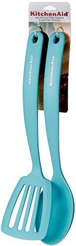 KitchenAid Nylon Slotted Turne & Basting Spoon Set, Aqua Sky