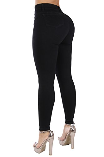 Curvify Classic High Rise Skinny Jeans| All Black High Waisted Stretchy Jeans (768, Black, 15)