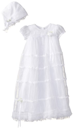 Biscotti Baby-girls Newborn Cherished Heirloom Netting Gown with Bonnet, Ivory, One Size ()