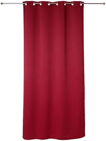 Set di 2 tende oscuranti con occhielli, pronte da appendere, 135 x 240 cm, colore: rosso