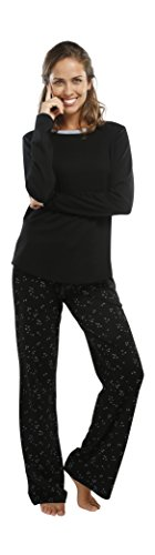 jijamas Incredibly Soft Pima Cotton Women's Pajama Set The Shooting Star in Classic Black ()