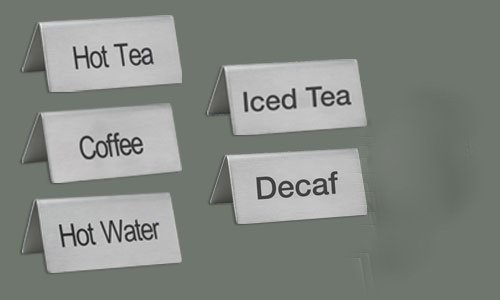LeRose Stainless Steel Tent Signs ~ Set of 5 ~''Coffee'',''Decaf'', Hot Water'',''Hot Tea'',''Iced Tea'' ~ 3'' x 1-1/2'' Beverage Table Display Tent Signs by LeRose (Image #6)