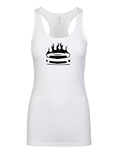 scle Car Fan Racerback Tanktop | Womens White Small (Camaro White Muscle Car T-shirt)