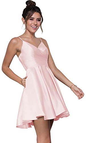 Spaghetti Strap Short Homecoming Dress A Line Pleated Satin V Neck Prom Dress with Pockets Blush Pink Size 6