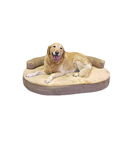 Integrity Bedding Orthopedic Memory Foam Joint Relief Bolster Large Pet Dog Bed - Toffee