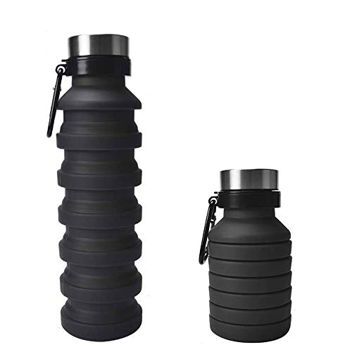 Collapsible Water Bottle 18oz with Carabiner, Reuseable BPA Free Silicone, FDA Approved, Foldable and Portable for Sports, Gym, Travel, Camping, Hiking, Leak Proof, 100% non-toxic materials (Black)