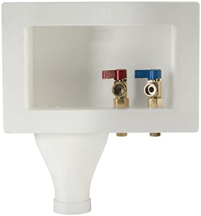 Water-Tite 87374 Left-Hand Wide-Mouth Washing Machine Outlet Box with Brass Quarter-Turn Valves Installed, 1/2