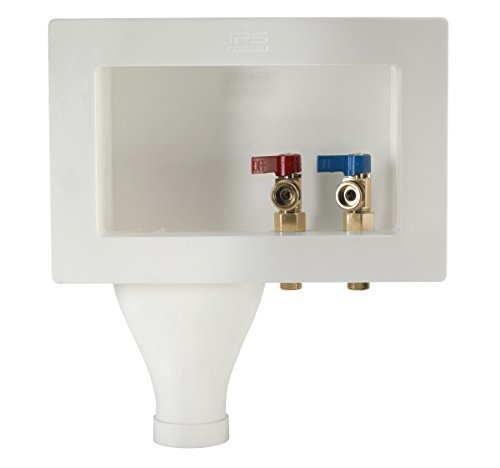- Water-Tite 87367 Left-Hand Wide-Mouth Washing Machine Outlet Box with Brass Quarter-Turn Valves Installed, 1/2