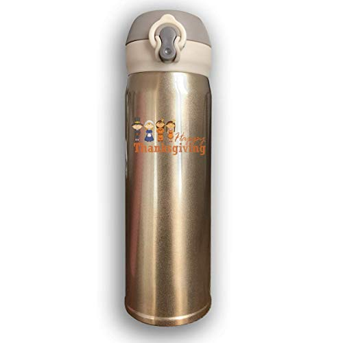 Dicobrune Double Wall Vacuum Insulated Stainless Steel Sports Water Bottle,Traditional Thanksgiving Festivals Stainless Steel Leak Proof Thermos 17 Oz ()