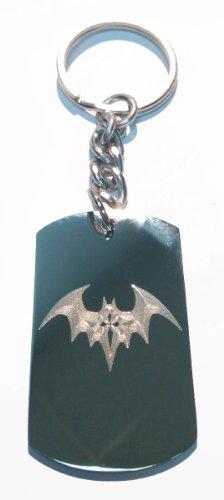 (Hat Shark Night Winged Gothic Bat w/Cross - Metal Ring Key Chain Keychain)