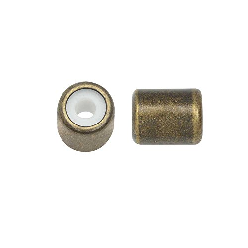 (Adjustable Slider Clasp, Tube with Silicone Center 5.5x6.8mm, 4 Pieces, Antiqued Brass Tone)