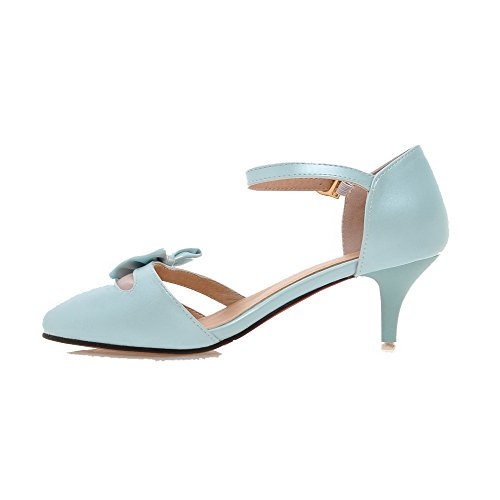 Femme Talon Rond Mélangee VogueZone009 Matière Bleu à Légeres Boucle Chaussures Correct SgxTwCd
