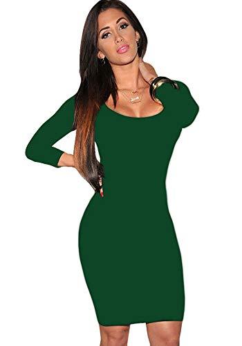 Womens Long Sleeves Dress Crewneck Bodycon Bandage Midi Evening Dresses Dark Green