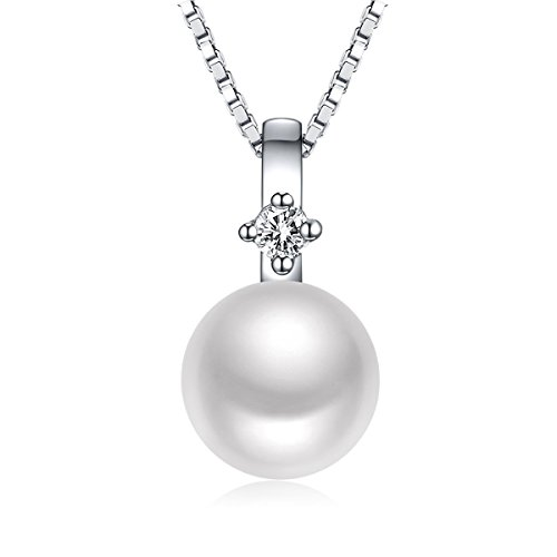 Sinya Sterling Silver FreshWater Cultured Pearl Pendant Necklace 18 inch for women
