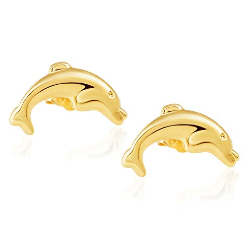 - 14K Yellow Gold Dolphin Earrings | Screw Back Safety Closure