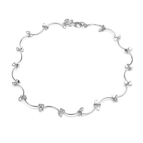 Silver Stylish Leaf Vine Anklet, 9.5 inches ()