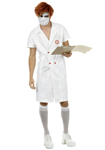 (Charades Men's Twisted Nurse Too, White)